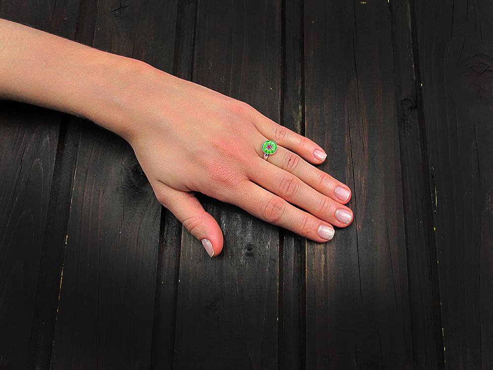Inel argint reglabil cu Millefiori verde 10 MM