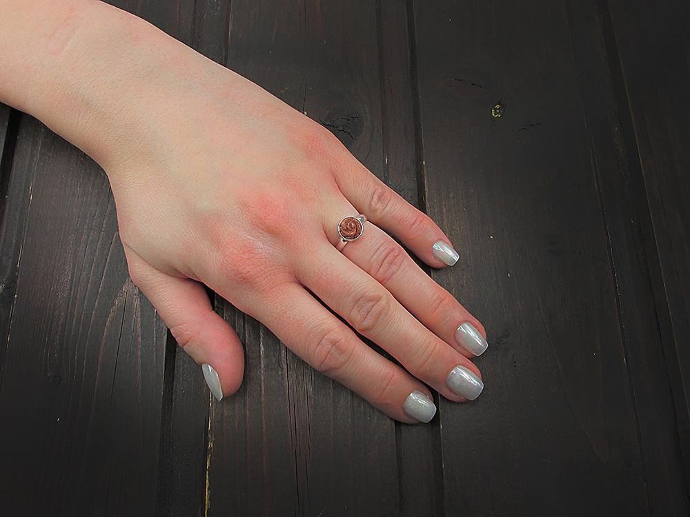 Inel argint reglabil cu trandafir Piatra Soarelui maro 8 MM