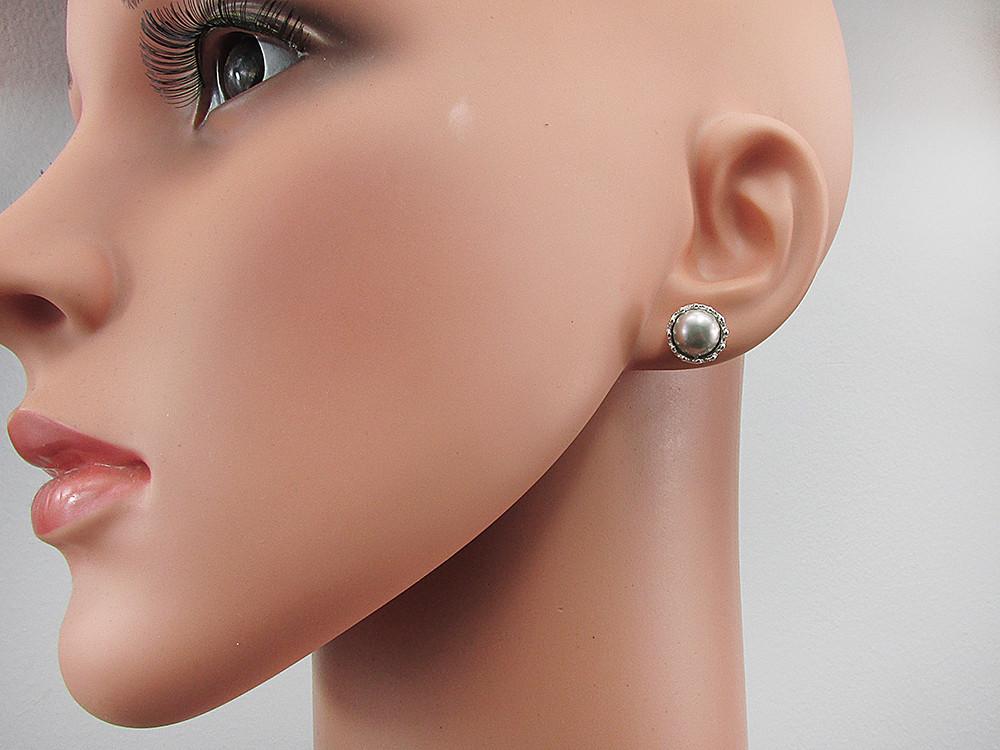 Cercei argint coroana perle de cultura gri 8 MM
