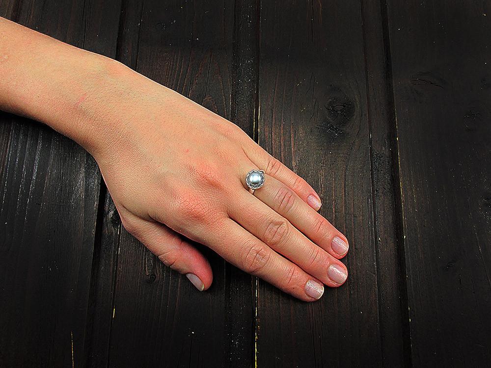 Inel argint reglabil coroana cu perla de cultura gri 8 MM