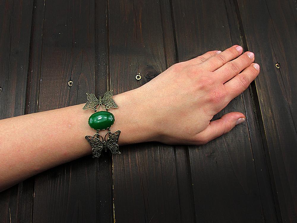 Bratara statement fluturi cu agat verde 25x18 MM