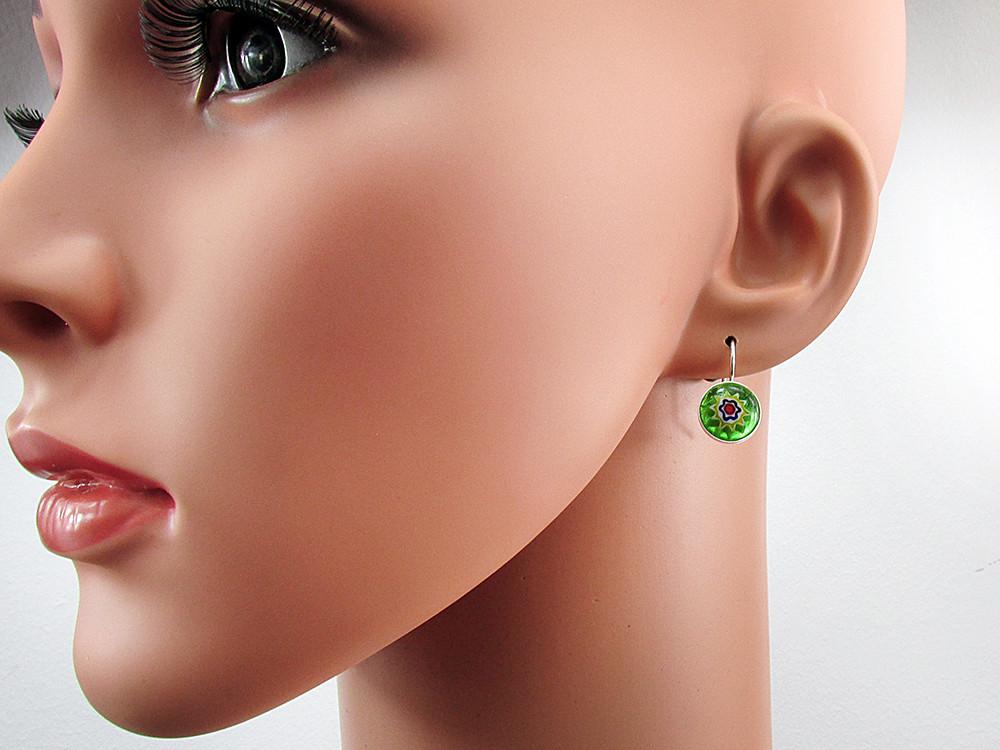 Cercei argint model clasic cu Millefiori verde 10 MM