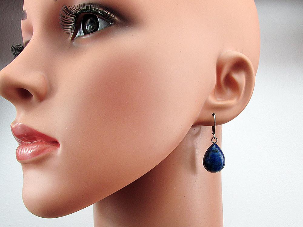 Cercei inox cu tortite inchise si lapis lazuli natural