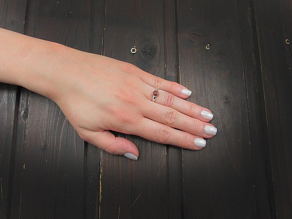 Inel argint reglabil cu piatra soarelui maro 6 MM