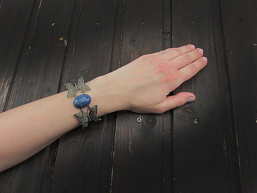 Bratara statement fluturi cu lapis lazuli 25x18 MM