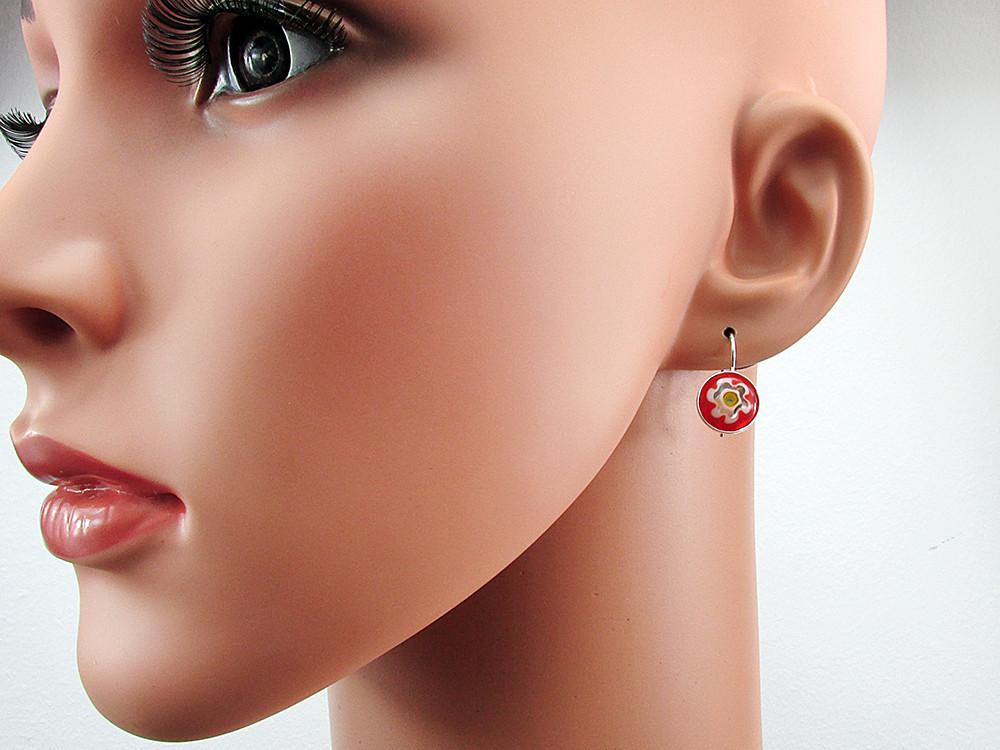 Cercei argint model clasic cu Millefiori rosu 10 MM