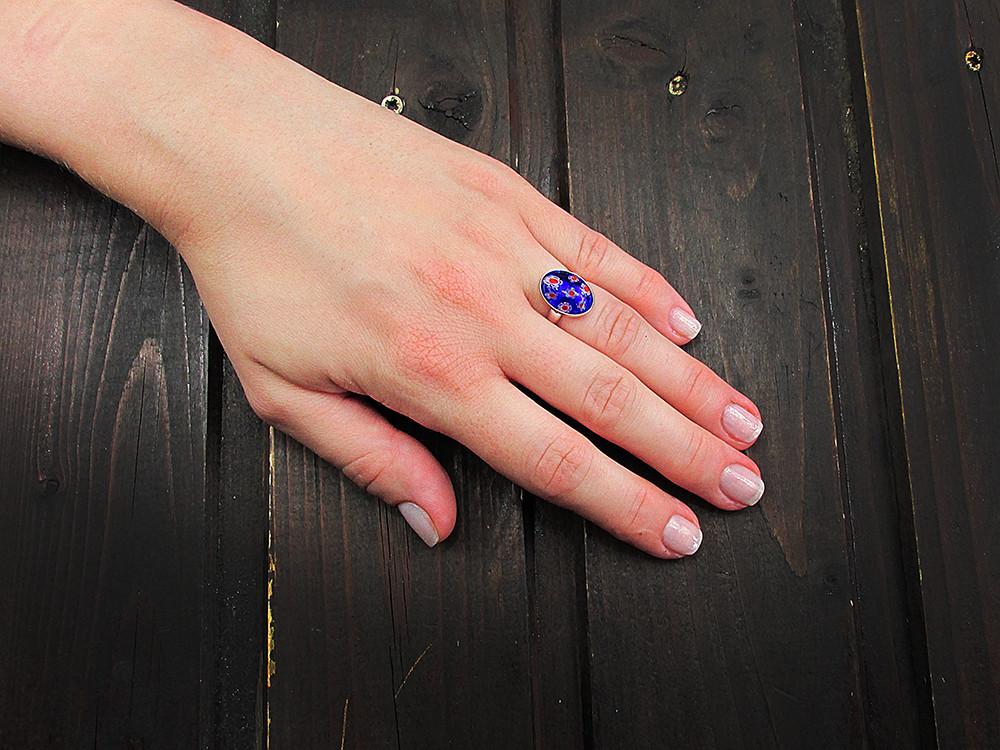 Inel argint reglabil cu Millefiori albastru/rosu