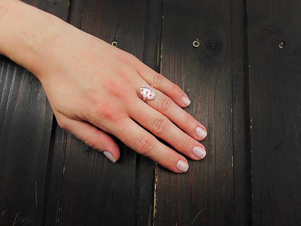 Set argint cercei si inel reglabil Millefiori transparent/rosu
