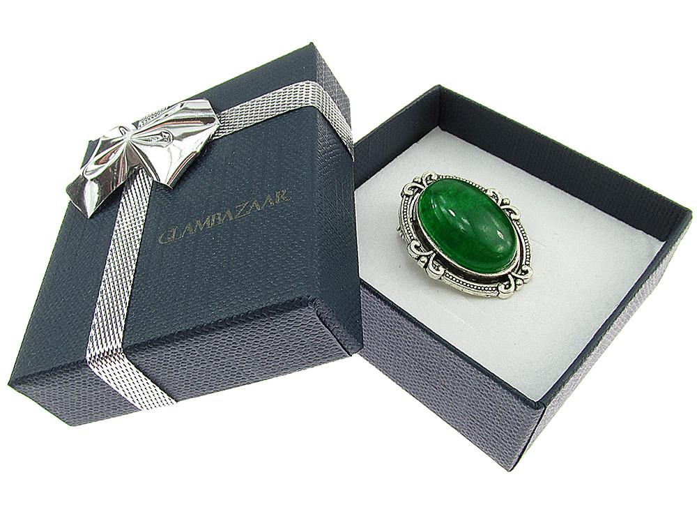 Brosa ovala mica cu agat verde natural