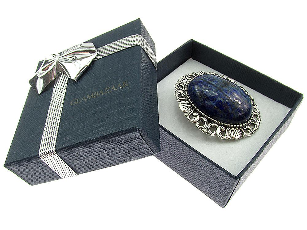 Brosa/pandantiv argintiu antic cu lapis lazuli natural