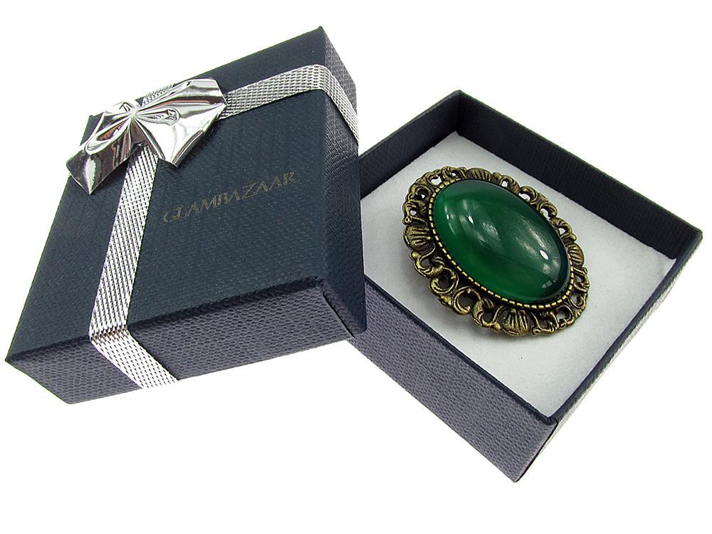 Brosa/pandantiv bronz antic cu jad verde natural
