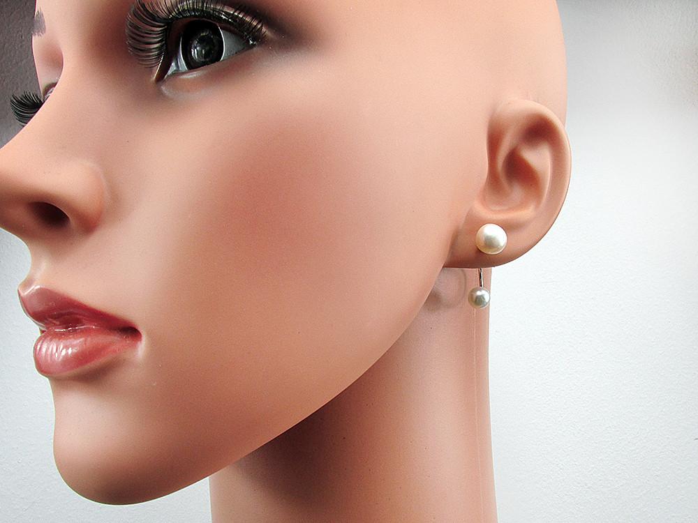 Cercei argint Double Glam cu perle de cultura albe 8 si 6 MM
