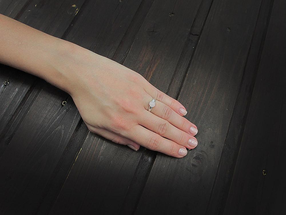 Inel argint reglabil cu cuart roz 6 MM