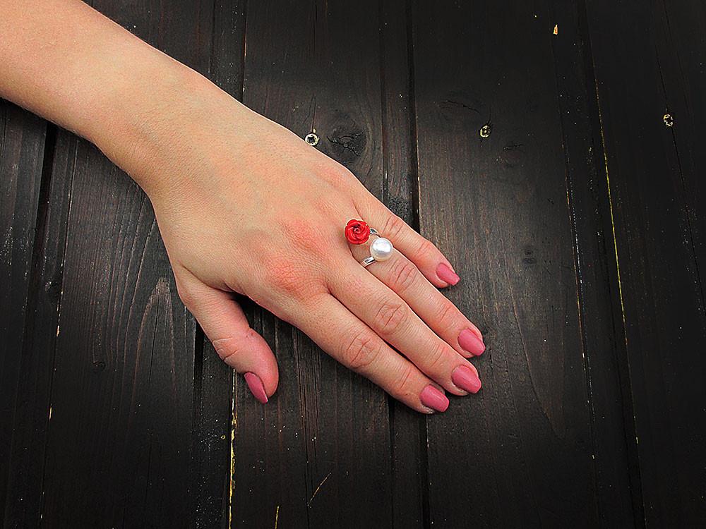Inel argint reglabil cu perla de cultura si trandafir coral natural