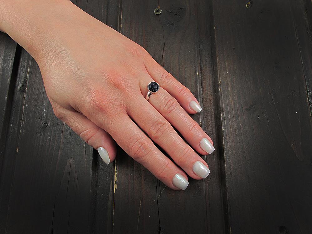 Inel argint reglabil cu Piatra Soarelui albastra 8 MM