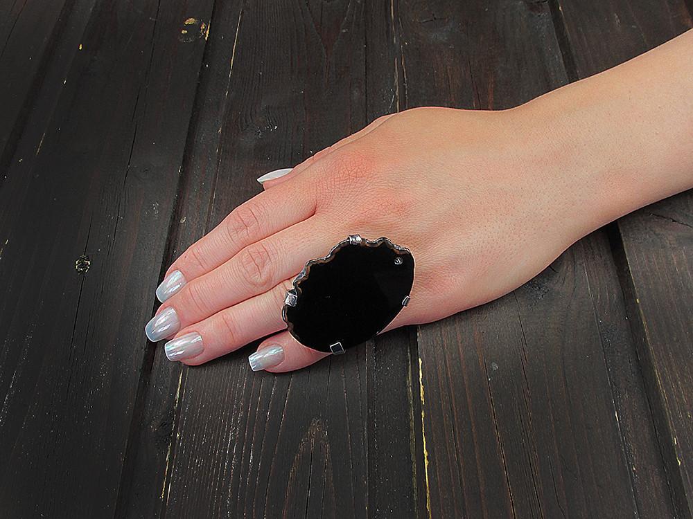 Inel reglabil statement masiv cu agat negru natural B