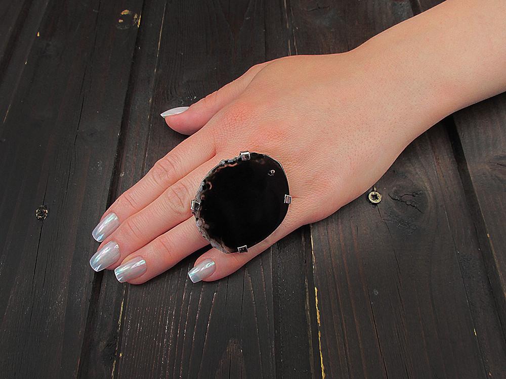 Inel reglabil statement masiv cu agat negru natural L