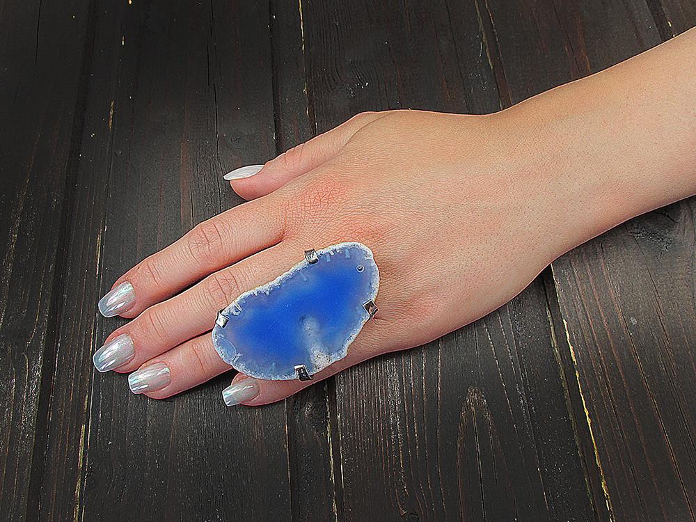 Inel reglabil statement masiv cu agata bleu naturala C
