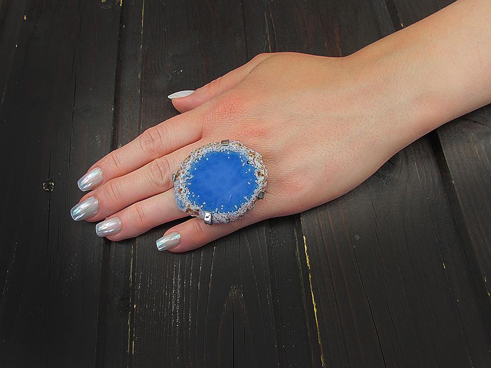 Inel reglabil statement masiv cu agata bleu naturala E
