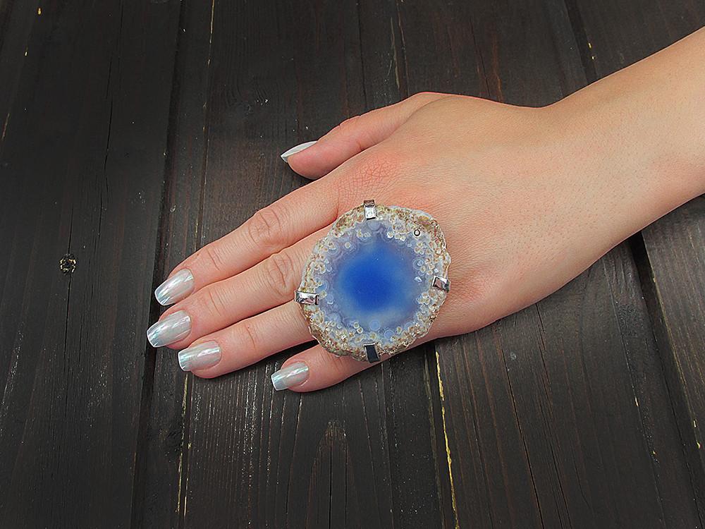Inel reglabil statement masiv cu agata bleu naturala G