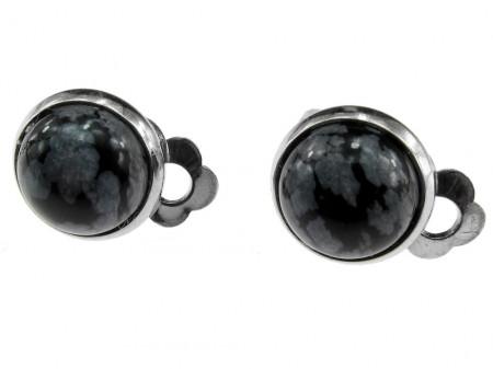 Cercei clips unicat cu piatra naturala obsidian Fulg de Nea 10 MM