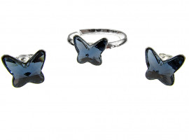 Set argint Fluturi Swarovski Elements albastru denim 8 MM