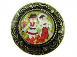 Brosa bronz antic tarani in port popular