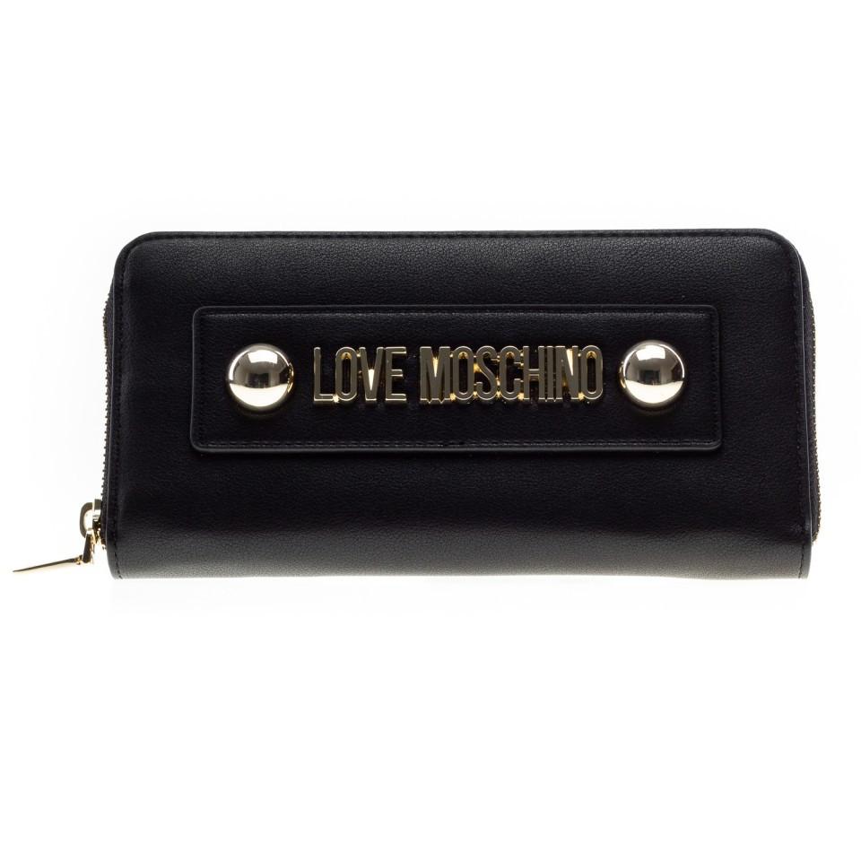 the latest bb150 25af6 Moschino Love portafoglio nero con logo