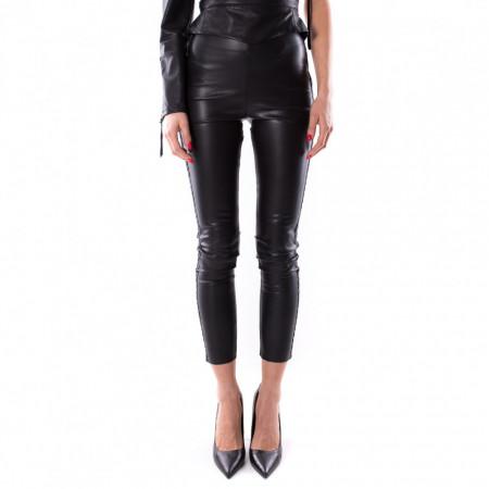 jijil leggins nero di pelle con banda laterale