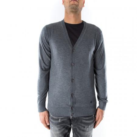 OUTFIT cardigan classico in lana grigio