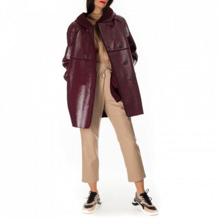 pinko-hooded-coat-bordeaux