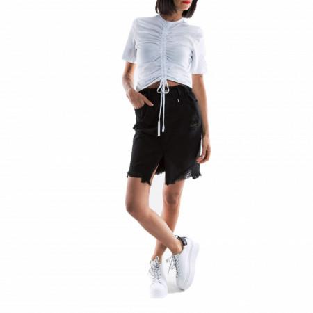 woman-black-denim-skirt