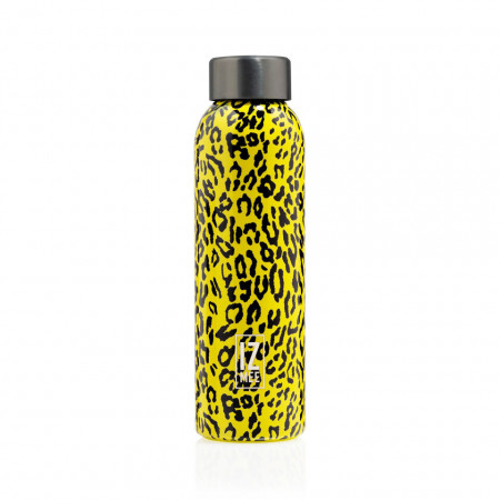 bottiglia in acciaio gialla leopard