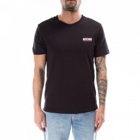Moschino-tshirt-nera-stripe-logo