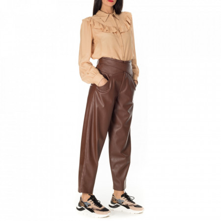 pantalone-ecopelle-marrone-donna