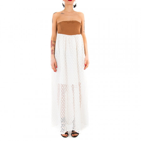 check out 1ca63 bc0d2 Ynot vestito lungo bianco in pizzo