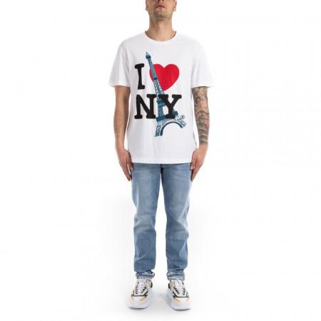 Eleven Paris t-shirt con stampa uomo bianca