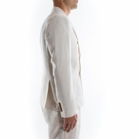 giacca doppiopetto in lino bianca uomo