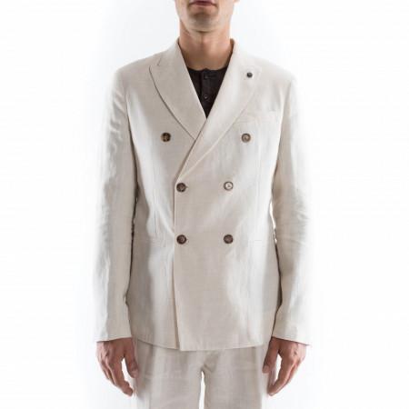Outfit giacca doppiopetto in lino bianca