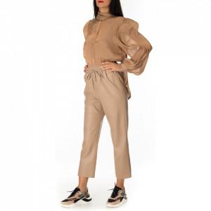 Isabelle Blanche pantalone ecopelle beige