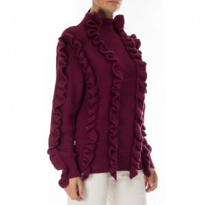 Jijil maglione con rouches bordeaux