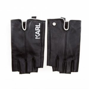 Karl Lagerfeld half finger black gloves