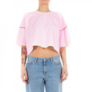 Ynot t shirt bianca con tulle fucsia