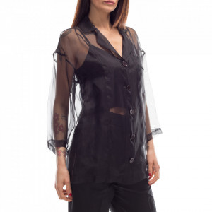 Isabelle Blanche black transparent silk shirt