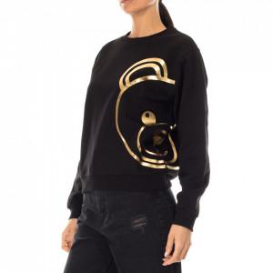 Moschino felpa nera stampa orsetto oro