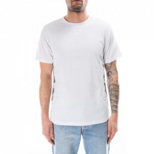 Moschino t-shirt bianca stripe logate laterali