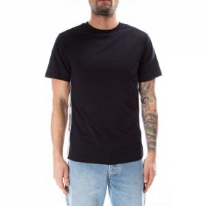 Moschino tshirt nera stripe logate laterali