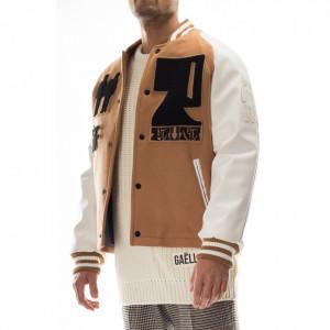 Paura man bomber jacket in varsity beige cloth