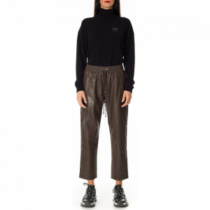 Pinko brown eco leather jogger trousers