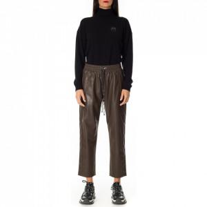 Pinko pantalone jogger ecopelle marrone